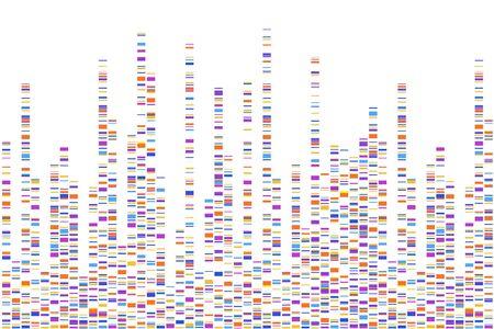 Infographie de test ADN. Illustration vectorielle. Carte de séquence du génome. Modèle pour votre conception. Vecteurs