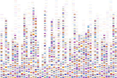 Infografía de prueba de adn. Ilustración vectorial. Mapa de secuencia del genoma. Plantilla para tu diseño. Ilustración de vector