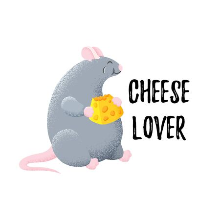 Fun postcard with thick mouse. Rat is eating cheese. Template for print, design, textiles. Vector cartoon card