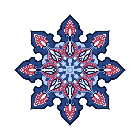 Arabic Floral Frame. Traditional Islamic Design. Indian circular mandala. Mosque decoration element. Template for your design. Vector abstract background, wallpaper, poster, banner