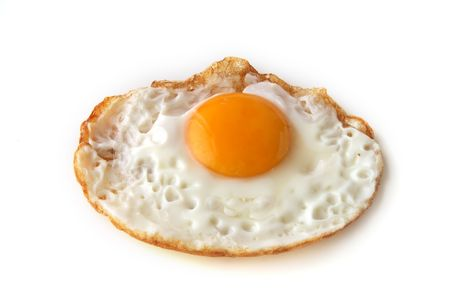 just fried egg clouse up on white background