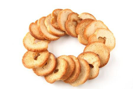 mini oven: mini baked bread chips in ring