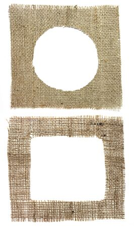 very detailed hi res photo of two different shapes burlap canvas with lacerate edge, for backgrounds, textures and layers. Stock Photo - 1343568