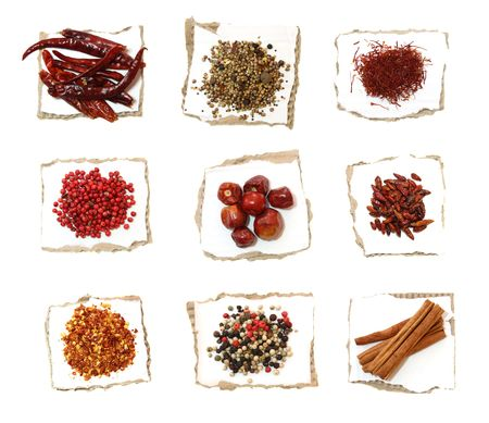 pickling: Different Spices on pieces of paper with torn edges - Red hot chilli pepper, Pickling mix, Saffron, red peppercons, Round pepper, Bird eye pepper, Chilli flakes, Four color Mixed pepper, Cinnamon sticks.