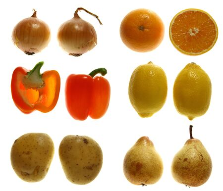 two halves of - onion, orange, red pepper, lemon, potato and pear, Isolated on white. photo