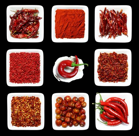 chilli: eight RED spices in WHITE square plates on BLACK background and one chilli pepper in sea shell with rough edges
