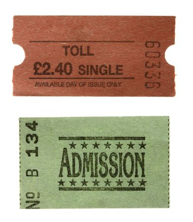 carny: TOLL single ticket and green General admission  ticket