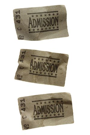 carny: Close-Up of Three CRUMPLED General Admission Tickets