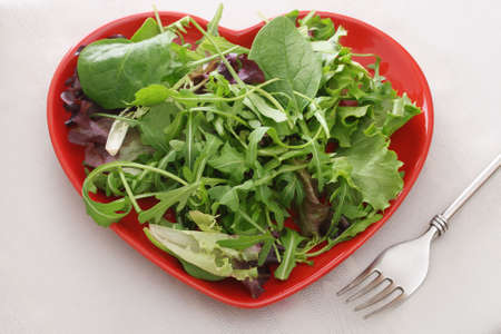 fresh leaf salad on red heart shape plate with fork on the table
