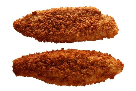 breaded: traditional breaded filleted fish, isolated on white