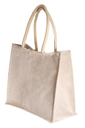 commercial recycling: linen shopping bag , isolated on white