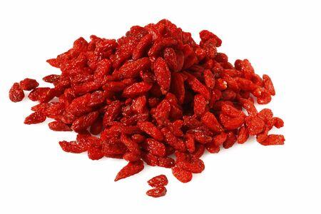 goji: GOJI berryes pile, over white  isolated