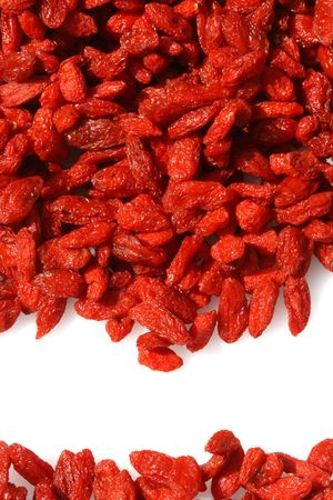 GOJI berryes frame on white background,  bright red color Stock Photo - 2869707