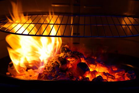 grill food: empty Barbecue Grill with flame and burning embers BBQ, colorful