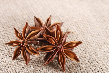 anis: anis star on burlap canvas background, close-up