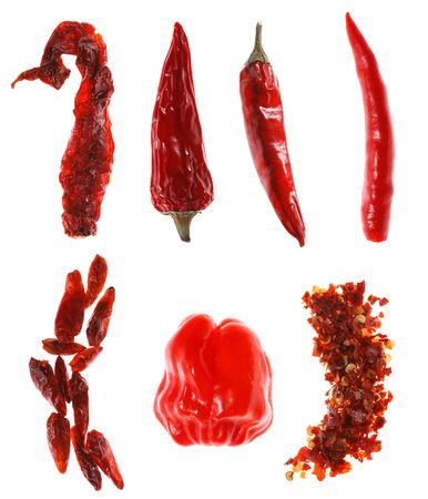 foodie: different types of red chillies, over white, super macro, super size