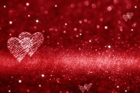 red heart space for love, glitter background Stock Photo