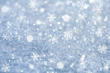 silver star: light blue snowflakes and glitter sparkles background , super macro shot, shallow DOF Stock Photo