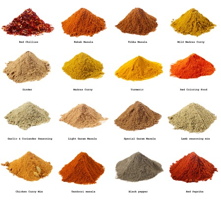masala: sixteen piles of Indian powder spices with its names - Red chillies, Kebab masala, Tikka masala, Mild Madras Curry, Ginger, Madras curry, Turmeric, Coloring Food,  Carlic Coriander seasoning, Light Garam masala, Special Garam Masala, Lamb seasoning mix, C