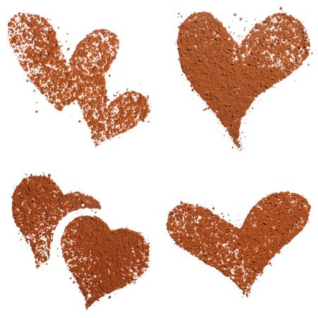 Cocoa dust Heart shape, Make you own pattern on sweets and coffee. Isolated on white
