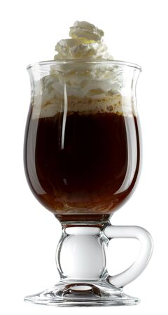 stirred: Irish coffee is a cocktail consisting of hot coffee, Irish whiskey, and sugar, stirred, and topped with thick cream. Isolated over white