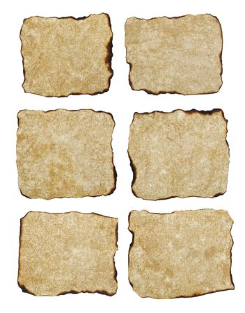 six naturally  burnt aged texture paper isolated on white background, ready for your text photo