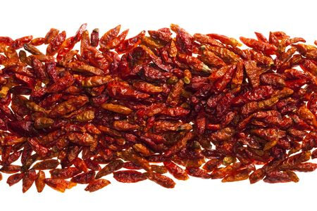 hottest: hottest red bird eye chillies peper  isolated on white
