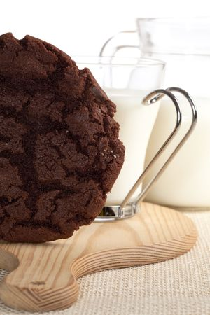 chocolaty cookie and some milk on background, shallow DOF photo