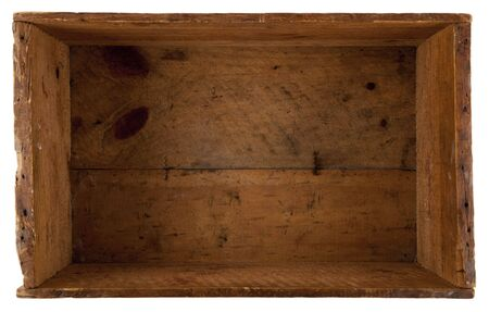 take a look inside the really old wooden box, isolated on white photo