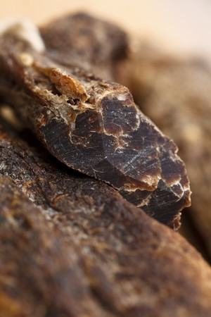 cured: Biltong - dry cured meat , macro