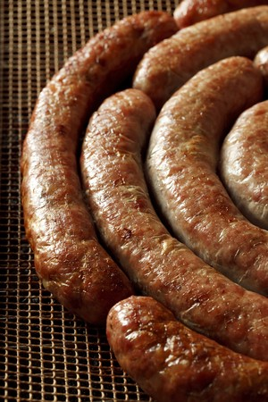 homemade pork sausage, spiral baked  photo
