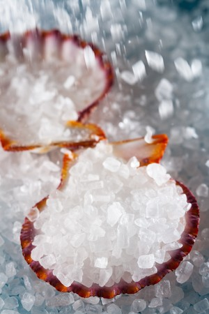 crystallized: pouring sea salt in a shell on salt background, shallow DOF Stock Photo