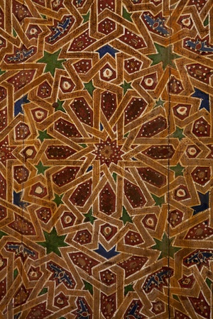 Detail of traditional wooden ornament in Morocco photo