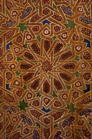 Detail van traditionele houten ornament in Marokko Stockfoto