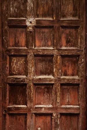 wood carving door: old ornamental  wooden carved door Stock Photo