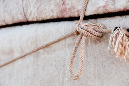 nomad: nomad yurt detail - thick felt background and rope