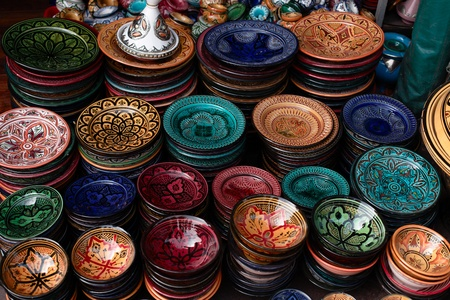 souk: decorated plates and traditional morocco souvenirs in medina souk Stock Photo