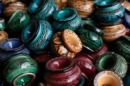 decorated ashtray and traditional morocco souvenirs in medina souk photo