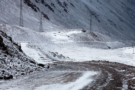 kirgizia: mountain road to China, Barskoon valley in Kyrgyzstan, high Tyan Shan mountains