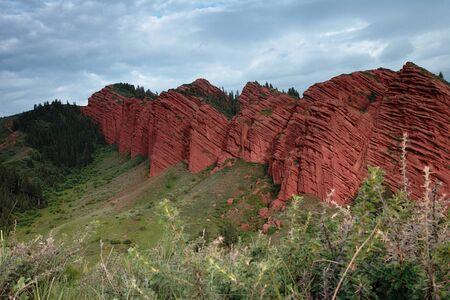 issyk kul: Jeti Oguz - famous Kyrgyz sandstone cliffs Seven bulls