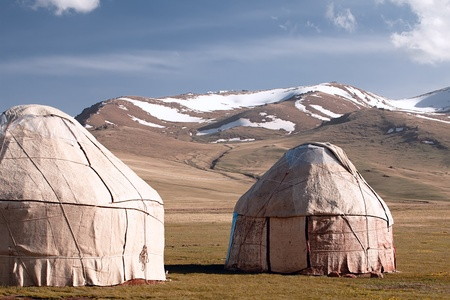 real shepherd yurt in kyrgyzstan Tien Shan mountain, Son Kul lake valley