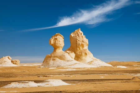 The limestone formation rocks looks like two sphinx  in the White Desert, Egypt photo