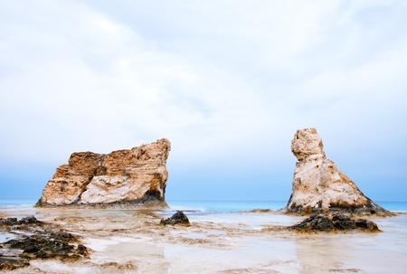 marsa: Cleopatras beach famous rocks near  Marsa Matruh, egypt