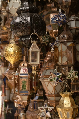 Moroccan glass and metal lanterns lamps in Marrakesh souq photo