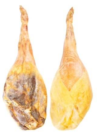 the sides: Jamon serrano, whole leg two sides, A Spanish ham isolated over white Stock Photo