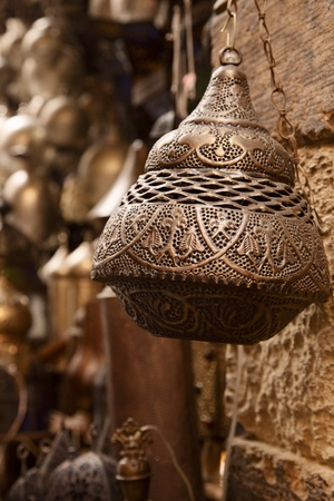 bazar: lamps in street shop in cairo, egypt Stock Photo