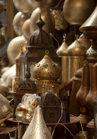 lamps in street shop in cairo, egypt Stockfoto
