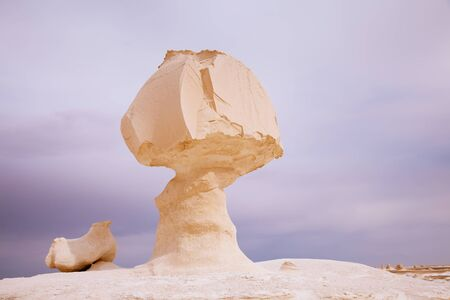 The limestone formation rocks Chicken and mushroom  in the White Desert, Egypt photo