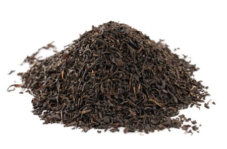Earl Grey  black loose tea leaves on white background, shallow dof