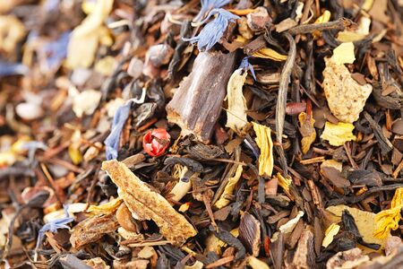 caffeine mix of mate, black tea, and red rooibos with cocoa, chocolate, nuts and cinnamon.  full frame pile Stock Photo - 14078042